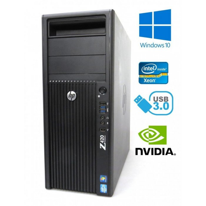 HP Z420 Workstation - Xeon E5-1607v2, 8GB, 128GB SSD, Quadro K600 1GB W10